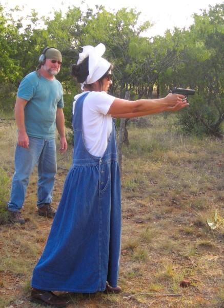 Miss Josie Irby shooting a 9 m pistol